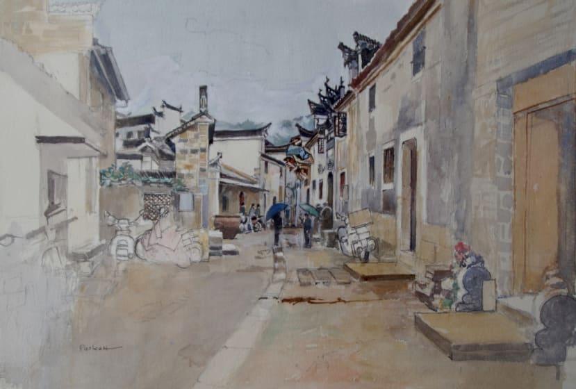 "<div class=""artist""><strong>David Paskett PPRWS Hon. RE</strong></div><div class=""title""><em>Anhui Rain</em></div><div class=""medium"">watercolour</div>"