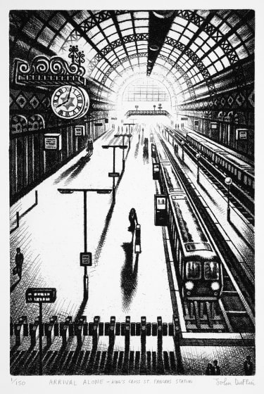 "<span class=""artist""><strong>John Duffin RE</strong></span>, <span class=""title""><em>Arrival Alone - Kings Cross St Pancras Station</em></span>"