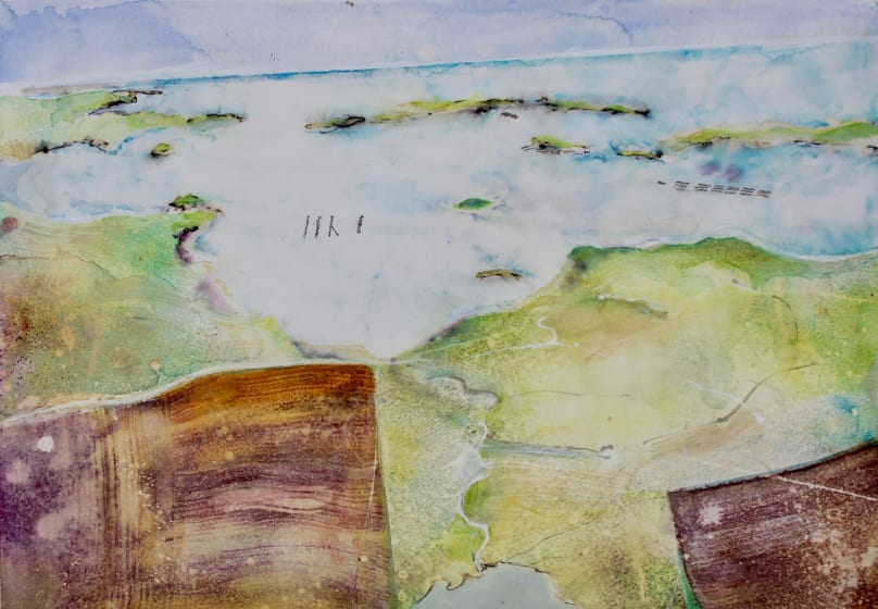 "<div class=""artist""><strong>David Hamilton ARWS</strong></div><div class=""title""><em>Over Shetland</em></div><div class=""medium"">watercolour, gouache & ink</div><div class=""dimensions"">50 x 70</div>"