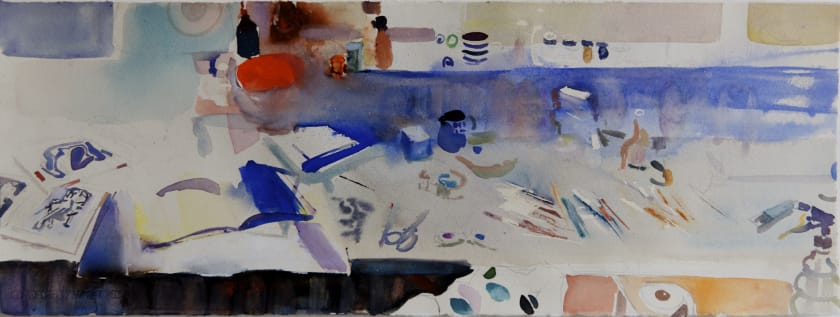 """<span class=""""artist""""><strong>Sophie Knight RWS</strong></span>, <span class=""""title""""><em>Contemplating Painting in the Studio with Stripey Mug and Brushes</em></span>"""