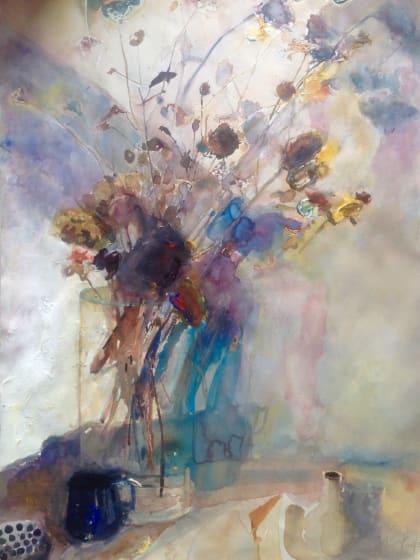"<div class=""artist""><strong>Sophie Knight RWS</strong></div><div class=""title""><em>Dried Grasses with Shaft of Sunlight and Spot Light, in my Studio</em></div><div class=""medium"">watercolour & body colour</div><div class=""dimensions"">66 x 86</div>"