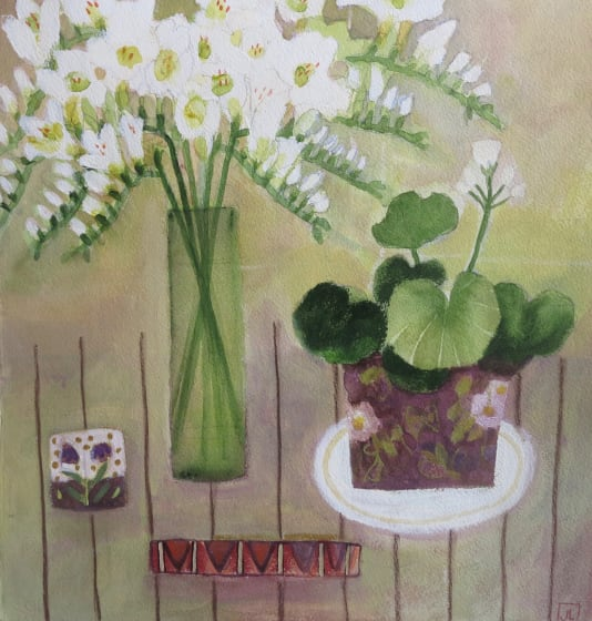 "<span class=""artist""><strong>Jill Leman PRWS</strong></span>, <span class=""title""><em>Flowers on My Table</em></span>"
