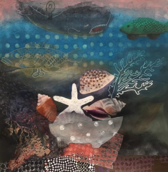 "<span class=""artist""><strong>Gertie Young ARWS</strong></span>, <span class=""title""><em>Tin Fish with Seashells</em></span>"