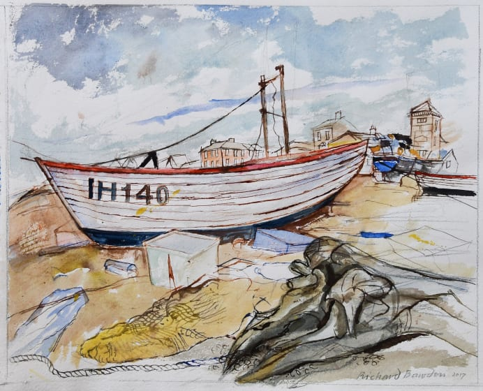 "<span class=""artist""><strong>Richard Bawden RWS RE</strong></span>, <span class=""title""><em>Aldeburgh Beach and Washed Up Log</em></span>"