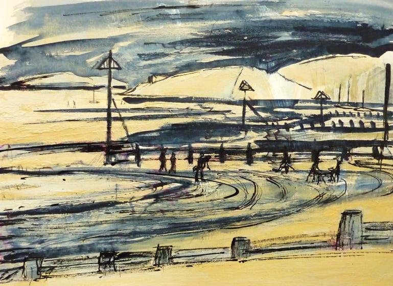 "<span class=""artist""><strong>Julia Midgley ARWS RE</strong></span>, <span class=""title""><em>Abersoch Low Tide</em></span>"