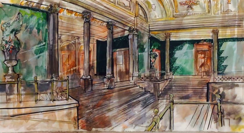 "<div class=""artist""><strong>Thomas Plunkett PPRWS Hon. RE</strong></div><div class=""title""><em>National Gallery Interior</em></div><div class=""medium"">watercolour & ink</div><div class=""dimensions"">89 x 55</div>"