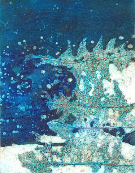 Brenda Hartill RE Waterlands I collagraph 86 x 56cm 10/100