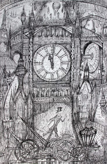 Neil Pittaway RWS RE Around the Clock etching 72 x 53cm 1/30
