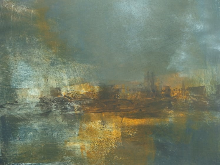 Kate Dicker RE River Industry monotype 52 x 62cm 1 of 1