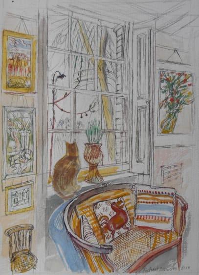 """<div class=""""artist""""><strong>Richard Bawden RWS RE</strong></div><div class=""""title""""><em>The Dodo Cushion</em></div><div class=""""medium"""">watercolour</div><div class=""""dimensions"""">60 x 47</div>"""