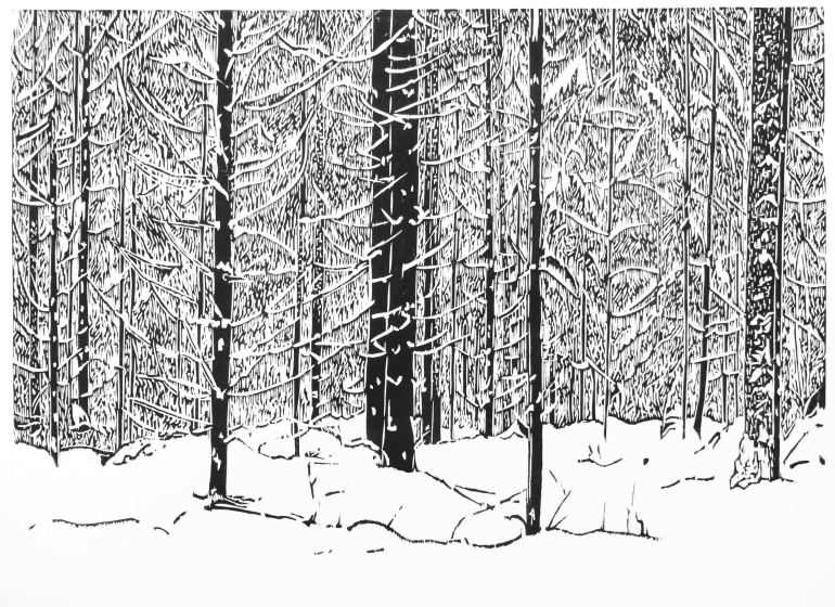 Sasa Marinkov RE White Forest woodcut 54 x 72cm 1/40