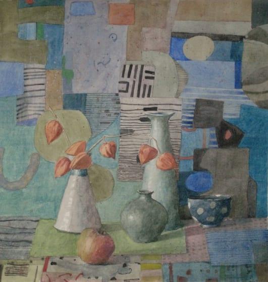 "<div class=""artist""><strong>Annie Williams RWS RE</strong></div><div class=""title""><em>December Still Life</em></div><div class=""medium"">watercolour</div><div class=""dimensions"">52 x 52</div>"