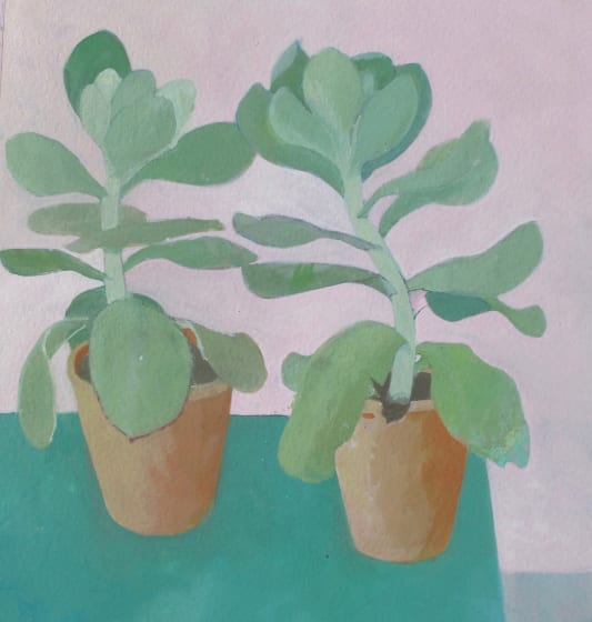 """<span class=""""artist""""><strong>Wendy Jacob RWS</strong></span>, <span class=""""title""""><em>Pink and Green</em></span>"""