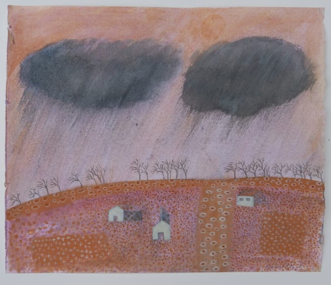 "<div class=""artist""><strong>Caroline McAdam Clark RWS</strong></div><div class=""title""><em>Rain approaching</em></div><div class=""medium"">watercolour & pencil</div><div class=""dimensions"">44 x 52</div>"