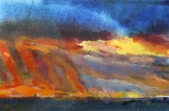 """<span class=""""artist""""><strong>Francis Bowyer Bowyer PPRWS Hon. RE</strong></span>, <span class=""""title""""><em>Marvellous Suffolk Sunset</em></span>"""