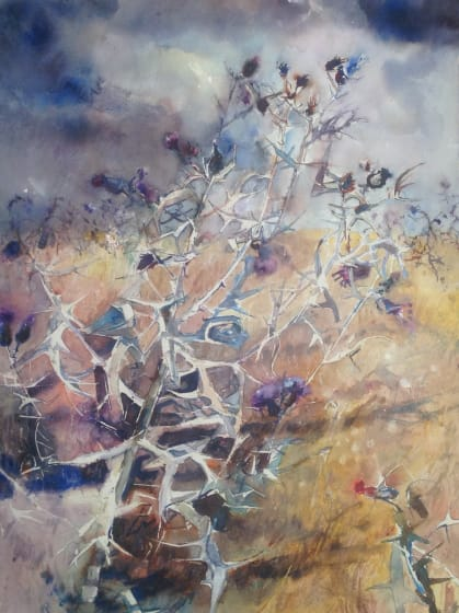 <span class=&#34;artist&#34;><strong>Sophie Knight RWS</strong></span>, <span class=&#34;title&#34;><em>Thistles Brace themselves to the oncoming Storm, Inverness, Scotland</em></span>