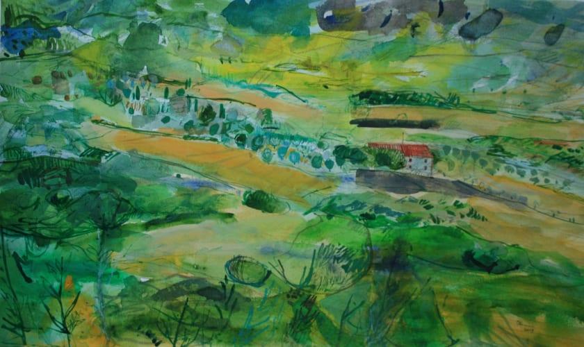 """<span class=""""artist""""><strong>Peter Quinn RWS</strong></span>, <span class=""""title""""><em>Tuscan Farmhouse</em></span>"""