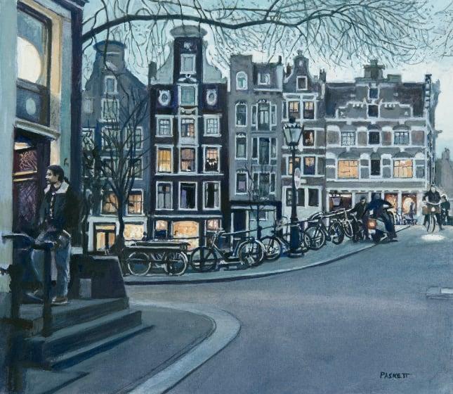 "<span class=""artist""><strong>David Paskett PPRWS Hon. RE</strong></span>, <span class=""title""><em>Street Corner, Amsterdam</em></span>"