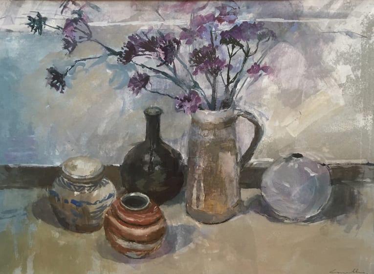"<span class=""artist""><strong>Jane Corsellis RWS</strong></span>, <span class=""title""><em>Stoneware and Nepeta</em></span>"