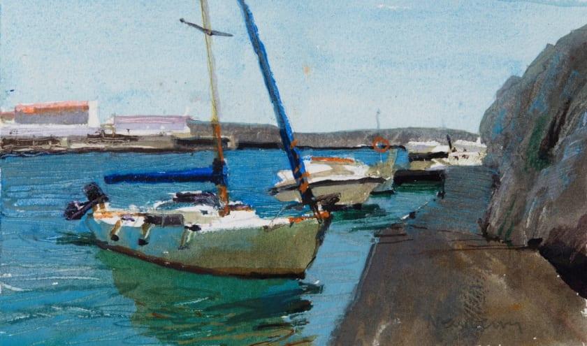 """<span class=""""artist""""><strong>John Newberry RWS</strong></span>, <span class=""""title""""><em>Yacht, Cala Font,  Minorca</em></span>"""