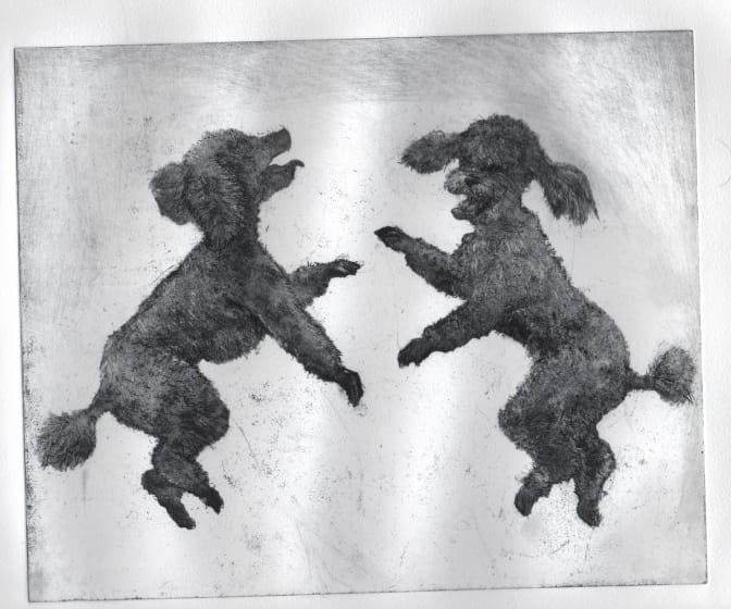 Chris Salmon ARE Poodles Rampant etching