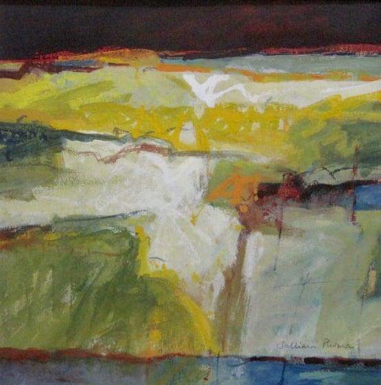 """<div class=""""artist""""><strong>Salliann Putman RWS</strong></div><div class=""""title""""><em>Yellow Landscape</em></div><div class=""""medium"""">watercolour & gouache</div><div class=""""dimensions"""">38 x 38</div>"""