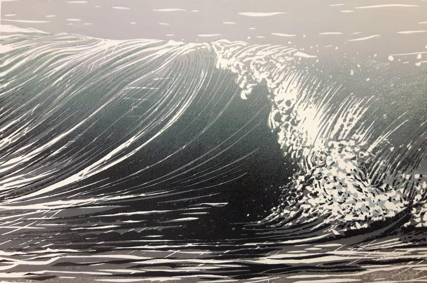 Merlyn Chesterman RE Green Wave woodcut 42 x 51cm 1/30