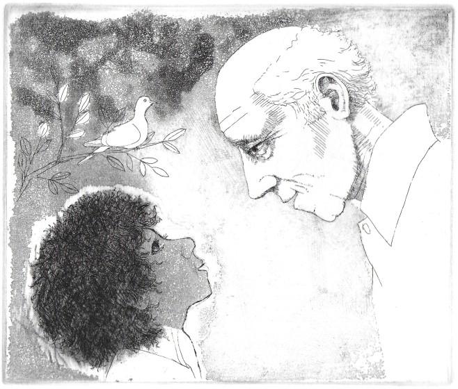 Frans Wesselman RE Conversation etching 39.5 x 40.5cm 2/20