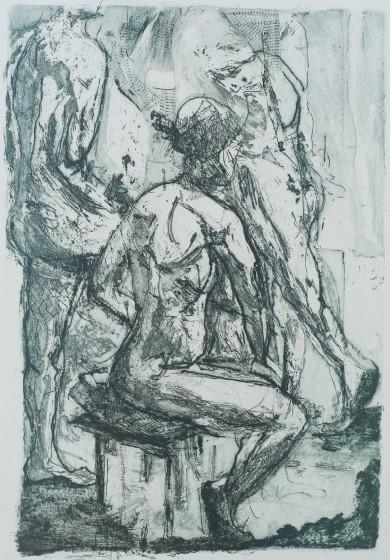 Daphne Casdagli RE Watching etching 43 x 33cm 2/15
