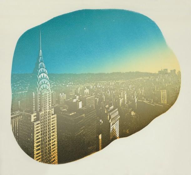 Anne Desmet RA RE Manhattan Sun reduction wood engraving & stencil 38.3 x 42.2cm 4/20