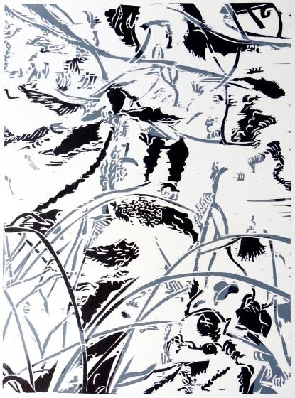 Sasa Marinkov RE Pond 2 woodcut 54 x 44cm 1/30