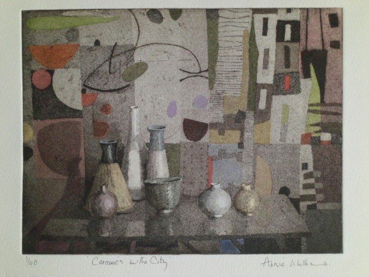 Annie Williams RWS RE Ceramics in the City aquatint & wash 41 x 37cm 1/40