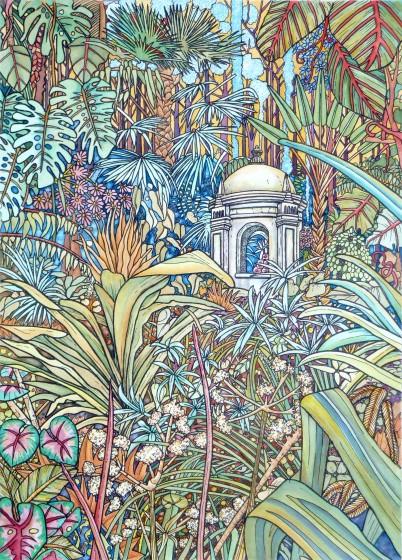 Meg Dutton RE Hidden Folly etching & watercolour 79 x 63cm 3/60