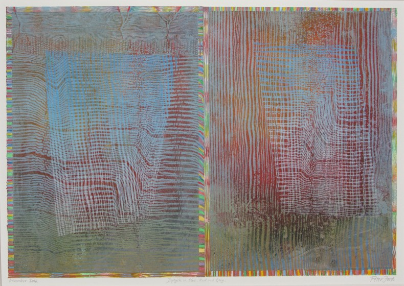 Peter Ford RE Diptych in Blue, Red and Grey woodcut & watercolour 44 x 57cm Unique.