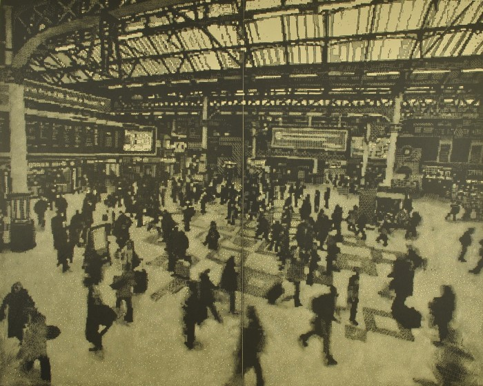 Trevor Price RE Passage of Time. Victoria Station drypoint & engraved relief print 85 x 100cm 2/75