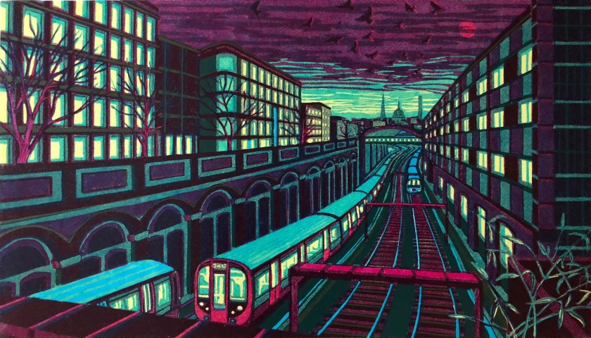 Gail Brodholt RE Red Moon Rising linocut 66 x 95cm 5/75