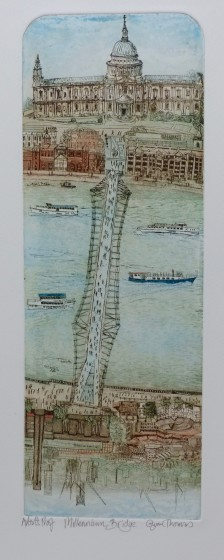 Glynn Thomas RE Millennium Bridge etching 60 x 30cm Artists Proof (edition size 150)
