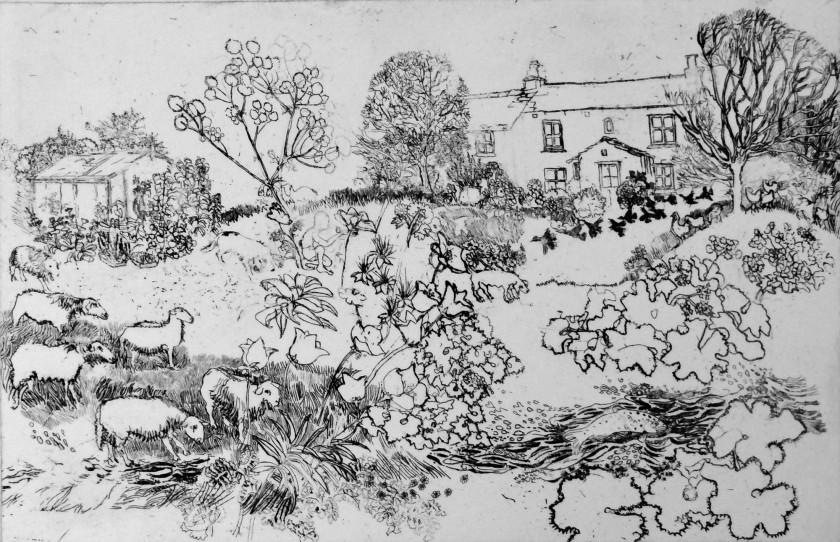 Rosamund Jones RE Trout Cottage etching 45 x 31cm 1/20