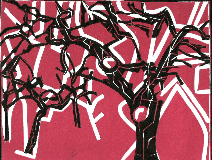 Dale Devereux Barker RE Other trees II linocut 26 x 28cm Unique