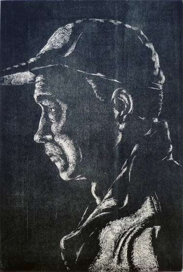 Jane Stobart RE Watching VIII woodcut 75 x 53cm 1/25