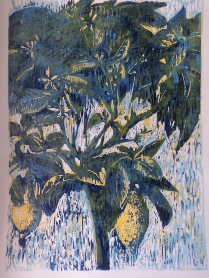 Hilary Daltry RE LEMON TREE woodcut 100 x 70cm A/P