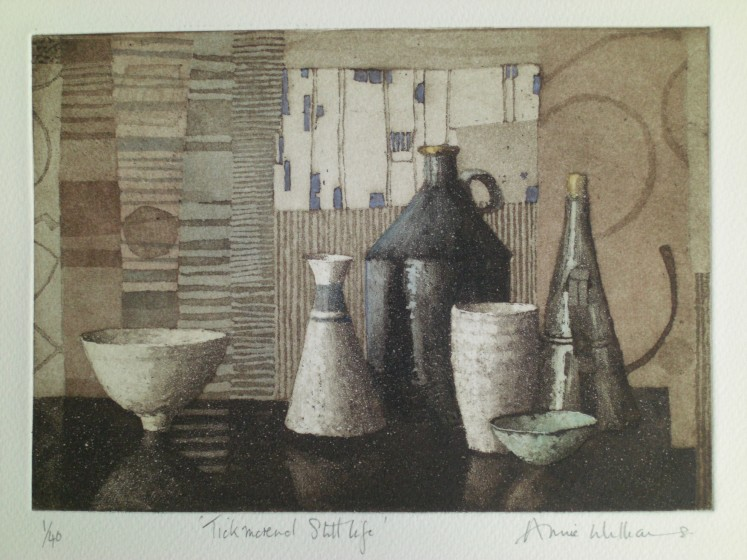 Annie Williams RWS RE Tickmorend Still Life aquatint & wash 41 x 37cm 1/40
