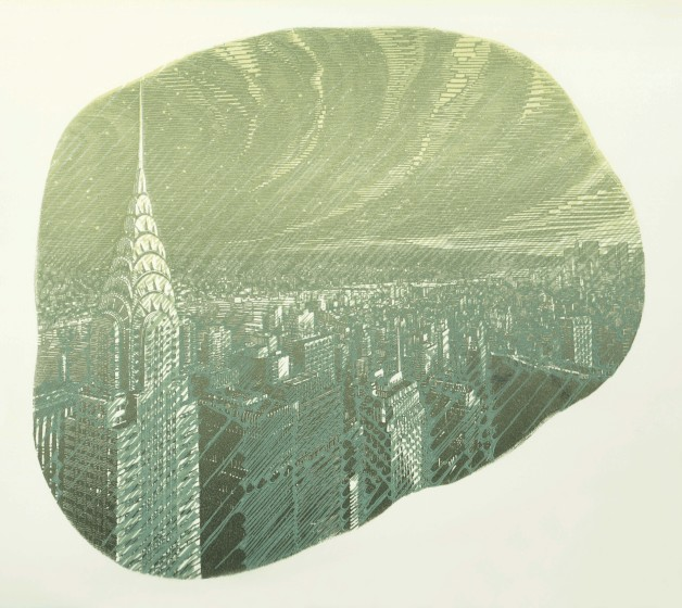 Anne Desmet RA RE Manhattan Rain wood engraving & linocut 38.3 x 42.2cm 4/20