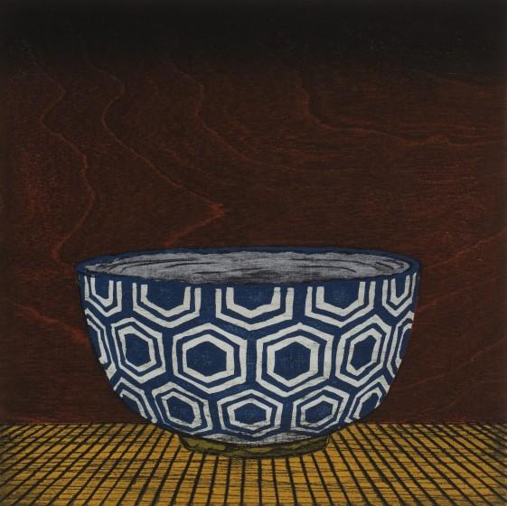 Nana Shiomi RE Indigo Hexagon Tea Bowl woodcut 45 x 45cm 12/30