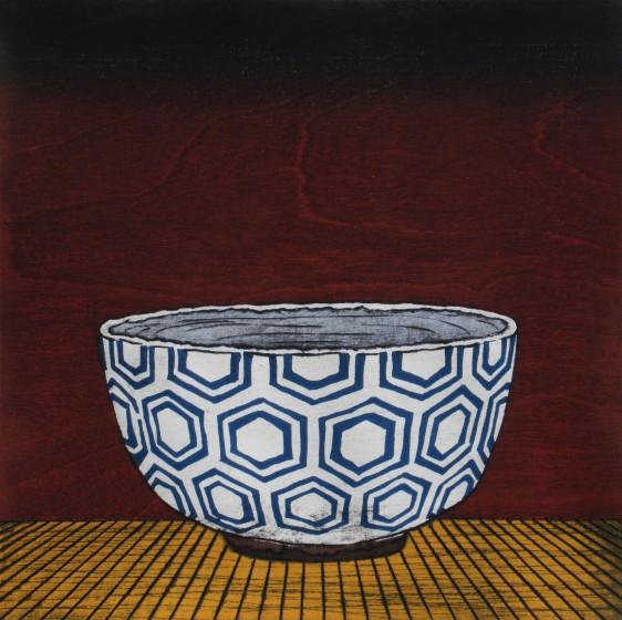Nana Shiomi RE White Hexagon Tea Bowl woodcut 45 x 45cm 12/30