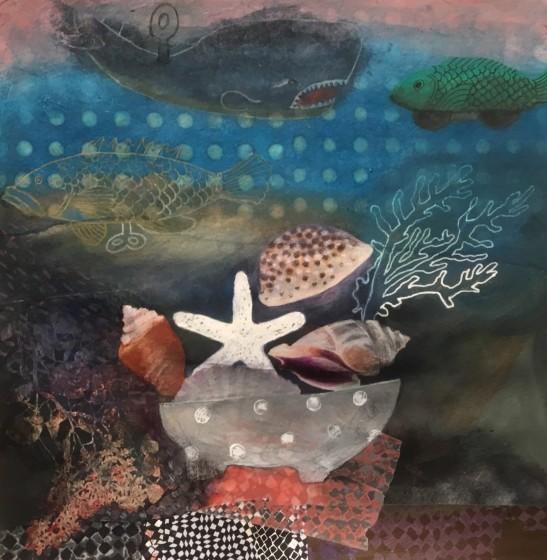 <span class=&#34;artist&#34;><strong>Gertie Young ARWS</strong></span>, <span class=&#34;title&#34;><em>Tin Fish with Seashells</em></span>