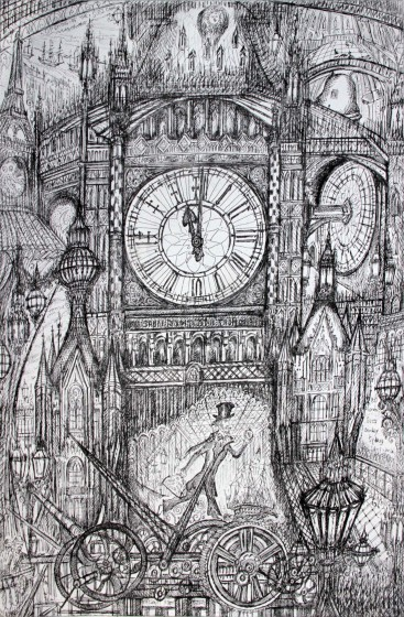 Neil Pittaway RWS RE Around the Clock etching 72 x 53cm 1/30
