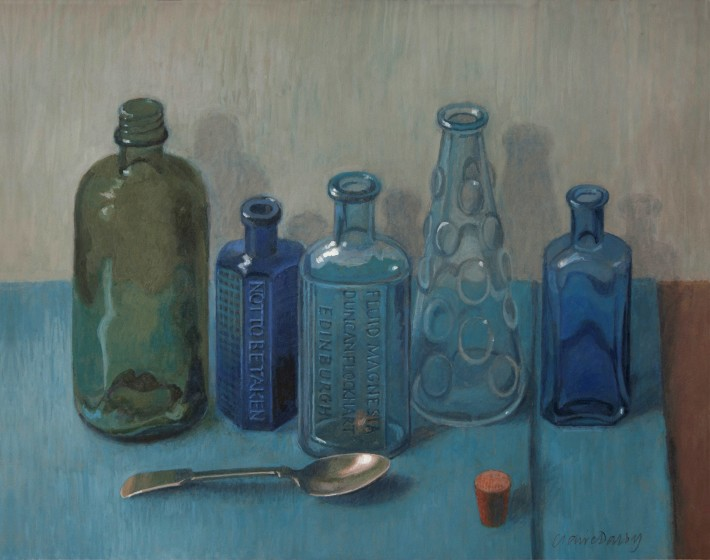 <span class=&#34;artist&#34;><strong>Claire Dalby RWS RE</strong></span>, <span class=&#34;title&#34;><em>Five Bottles</em></span>