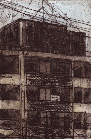 Ros Ford RE Parcel Force, study I etching & aquatint 37 x 30cm 1/20