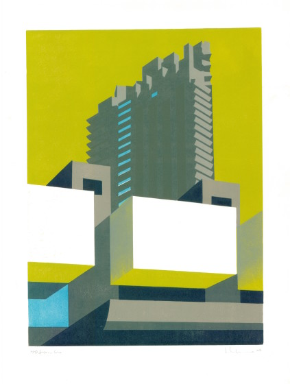 Paul Catherall RE Barbican Lime linocut 56 x 76cm